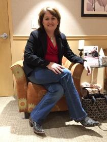 Sheila McBride shows off her boots.