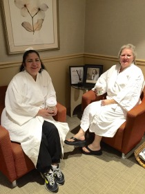 Irma Nino and Mourette Hodge enjoy a cup of coffee after their mammograms.